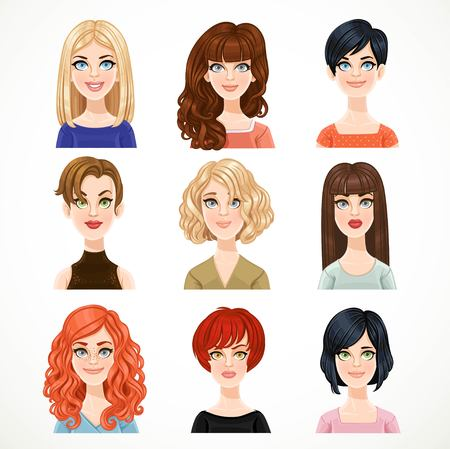 Set of portraits of avatars of cute different women.