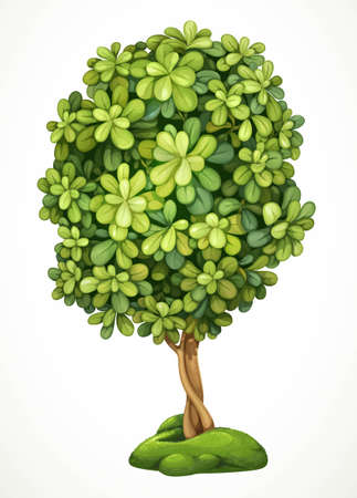 Fairy tree on the hill with moss. Detailed vector illustration isolated on white background