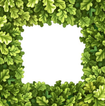 Frame from oak tree crown vector illustration isolated on white background