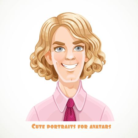 Cute blond men with lush curl hair portrait for avatar isolated on a white background