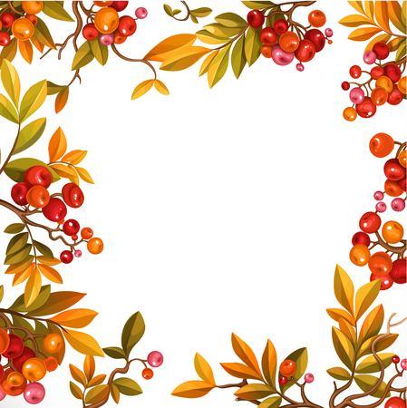 白い背景に孤立した葉と赤い果実と枝からフレーム  イラスト・ベクター素材