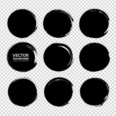 Textured circle strokes thick black paint  isolated on imitation transparent background