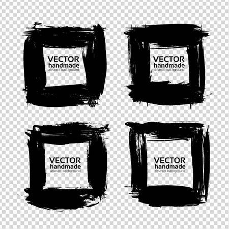 厚い黒からフレーム塗装模倣の透明な背景に分離された織り目加工ストローク セット  イラスト・ベクター素材
