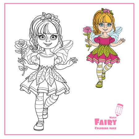 Cute girl in a fairy costume holding a large rose on the handle long color and outlined isolated on a white background