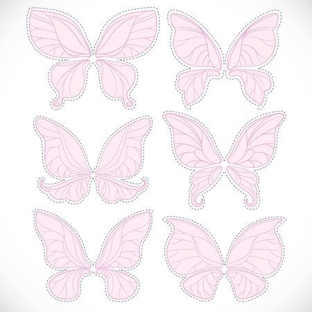 ピンクの妖精の翼点線カット セット白い背景で隔離のさまざまなフォーム
