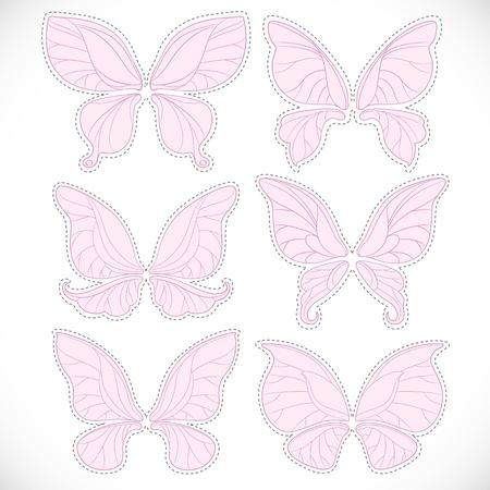 Pink fairy wings different form with dotted outlines for cutting set isolated on a white background