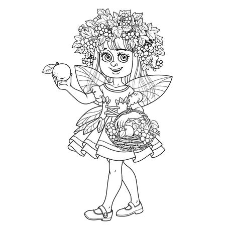 Autumn fairy girl in a wreath of viburnum and a basket of fruit in her hands outlined isolated on a white background Illustration
