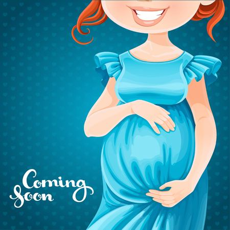 Belly of a pregnant woman close-up on a placard in blue with an inscription will arrive soon Illustration