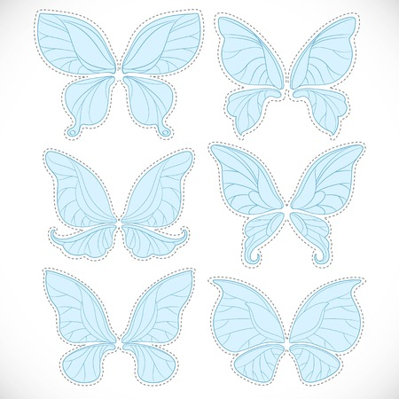 Blue fairy wings different form with dotted outlines for cutting set isolated on a white background 向量圖像