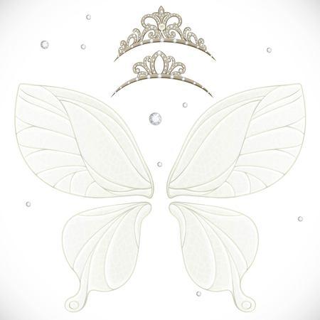 白い背景に分離されたバンドル 2 ティアラ魔法妖精の翼