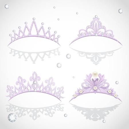 輝くダイヤモンドと真珠エレガントなバイオレット ティアラ