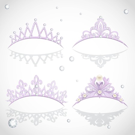 Shining elegant violet  tiaras with diamonds and pearls