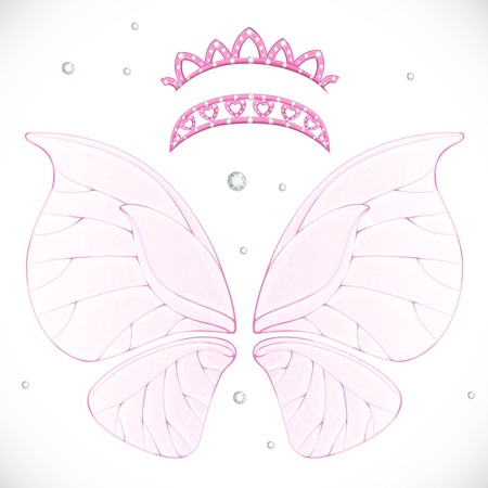 Pink magic fairy wings with two tiaras bundled isolated on a white background 向量圖像