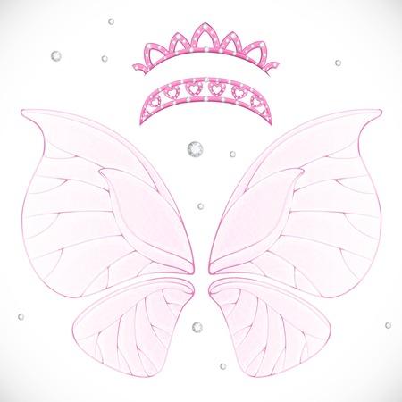 Roze magische fee vleugels met twee tiara's gebundeld geïsoleerd op een witte achtergrond Stock Illustratie
