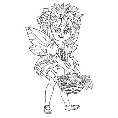 メープルの花輪の妖精衣装でかわいい女の子葉白い背景で隔離説明茸保持バスケット  イラスト・ベクター素材
