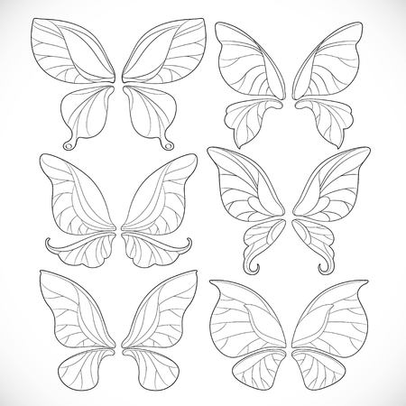 요정 날개 다른 양식 윤곽선 흰색 배경에 고립 된 집합