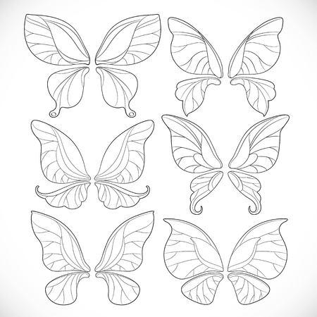 Fairy wings verschillende vorm overzichten set geïsoleerd op een witte achtergrond Stock Illustratie