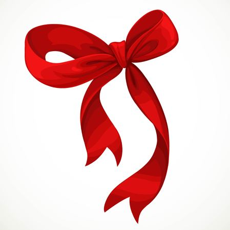 Vector illustration of red satin ribbon bow isolated on white background