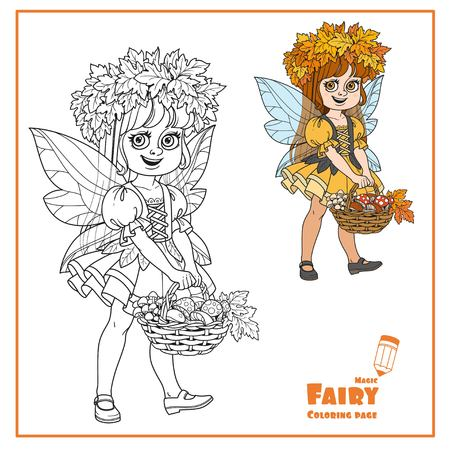 Cute girl in a fairy costume in wreath of maple leaves keeps basket with mushrooms color and outlined isolated on a white background Vectores
