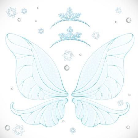 Alas de hadas de invierno azul con tiaras paquete aislado en un fondo blanco Foto de archivo - 91050027