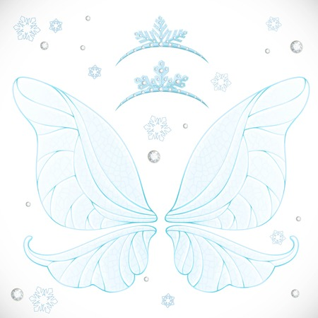 Winter fairy blue wings with tiaras bundled isolated on a white background