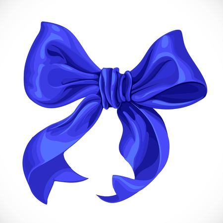 Vector realistic illustration of blue satin ribbon bow isolated on white background