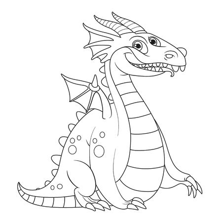 Cheerful fat dragon with little wings outlines for coloring isolated on white background