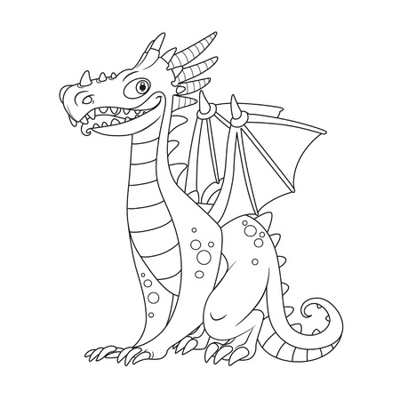 Cheerful dragon with wings and horns sit on white background outlines for coloring