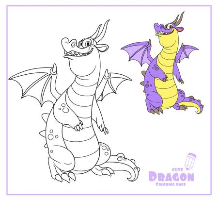 Cheerful dragon with wings and horns color and outlines for coloring isolated on white background