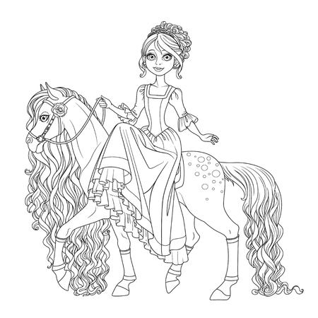 Cute princess on horse with a long mane outlined isolated on a white background Illustration