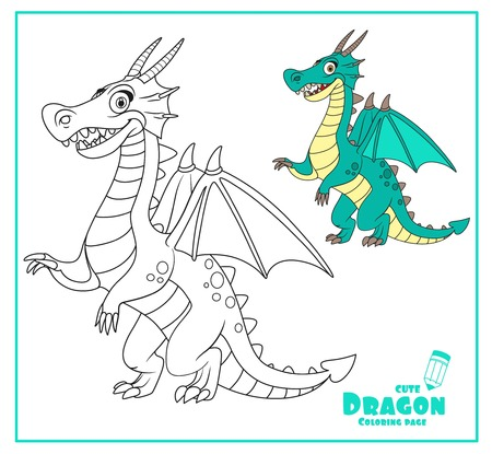 Cute cartoon dragon color and outlines for coloring isolated on white background Illustration