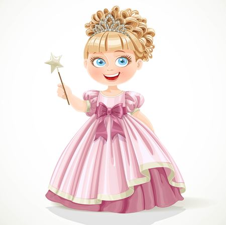 Cute little princess in pink dress and tiara holding magic wand isolated on white background