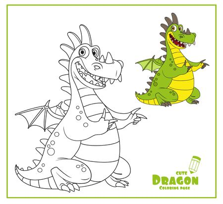 Cheerful dragon with little wings, color and outlines for coloring isolated on white background