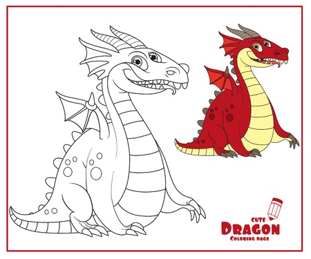 Cheerful fat dragon with little wings color and outlines for coloring isolated on white background Ilustração