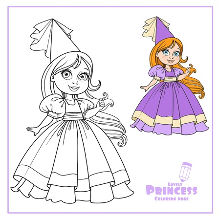Little princess in a ball dress with long hair outlined isolated on a white background Ilustração