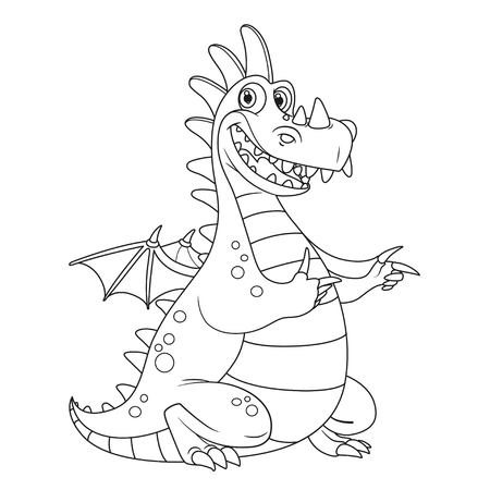 Cheerful dragon with little wings points aside outlines for coloring isolated on white background