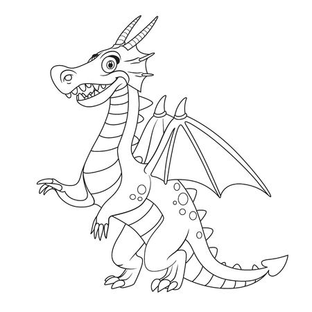 Cute cartoon dragon outlines for coloring isolated on white background Vettoriali