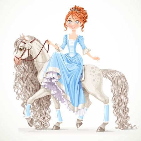 Cute brunette princess on a white horse with a long mane isolated on a white background