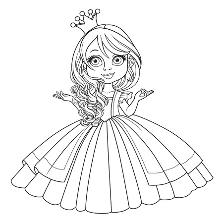 白い背景に隔離された壮大なドレスを着て王冠の小さな王女