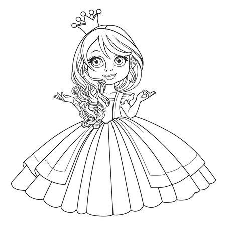 Kleine prinses in kroon dragen in prachtige jurk geschetst geïsoleerd op een witte achtergrond