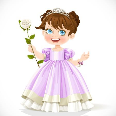 Little cute brunette princess in tiara with beautiful white rose on a long stalk isolated on a white background Ilustração