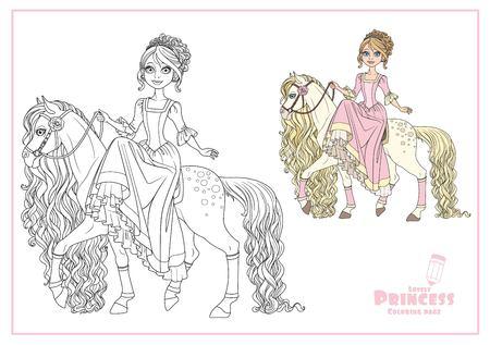 長いたてがみ色と白い背景に隔離された馬にかわいい王女  イラスト・ベクター素材