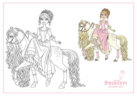 Cute princess on horse with a long mane color and outlined isolated on a white background