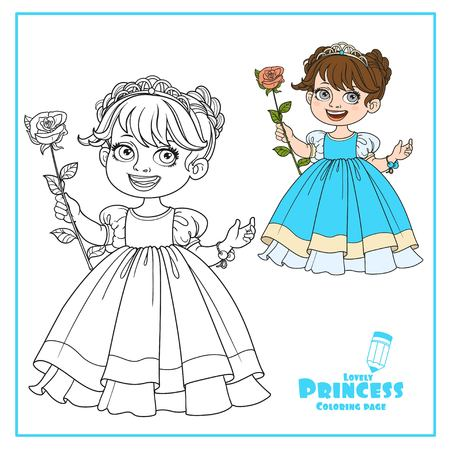 Little cute princess in tiara with beautiful rose on a long stalk color and outlined isolated on a white background