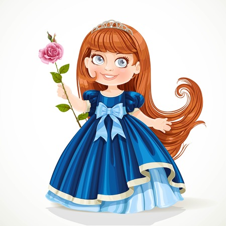 Cute little princess with long brunette hair in tiara and dark blue dress isolated on white background