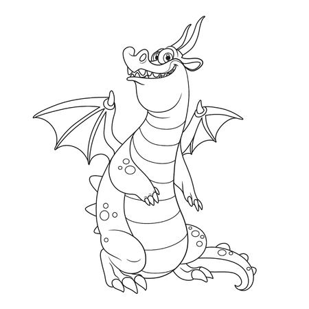 Cheerful dragon with wings and horns outlines for coloring isolated on white background Ilustração
