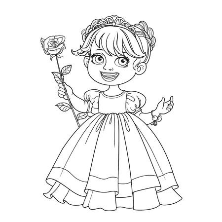 Little cute princess in tiara with beautiful white rose on a long stalk outlined isolated on a white background