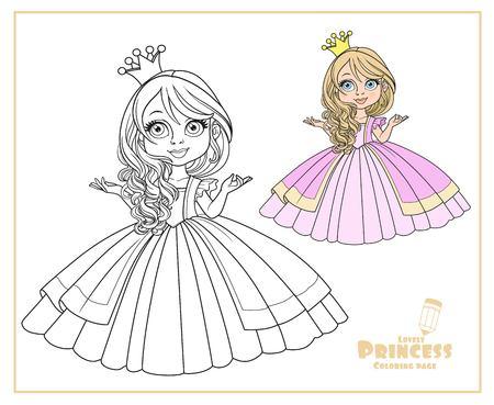 Kleine prinses in kroon dragen in prachtige jurk kleur en overzicht geïsoleerd op een witte achtergrond