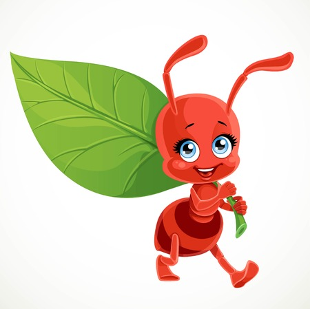 Cute cartoon red ant carries green leaf isolated on a white background