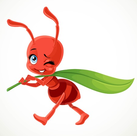 Cute cartoon red ant carries green blade of grass  isolated on a white background Foto de archivo - 95279135